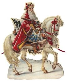Santa on White Horse Paper Scrap Garland ~ England ~ New for 2013