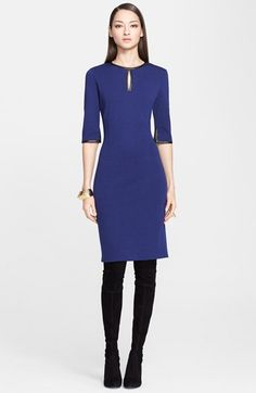 St. John Collection Leather Detail Milano Knit Dress (Online Only) | Nordstrom  $895