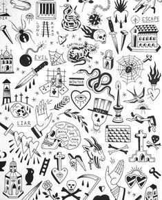 Doodle Tattoo, Kritzelei Tattoo, Poke Tattoo, Tattoo Shop, Luck Tattoo, City Tattoo, Tattoo Life, Flash Art Tattoos, Body Art Tattoos