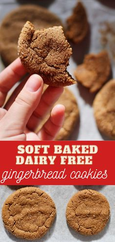 these gingerbread cookies are totally non dairy- but you would never know it! they are so big and soft(thanks to a very special unexpected ingredient!) we love how easy they are, and of course how flavourful, rolled in pumpkin spice and lots of cinnamon! #dairyfreegingerbreadcookies #nodairy #softgingerbread #pumpkinspice Roll Cookies, Yummy Cookies, Cake Cookies, Best Cookie Recipes, Baking Recipes, Dessert Recipes, Gingerbread Cookies, Christmas Cookies, Refrigerator Cookies