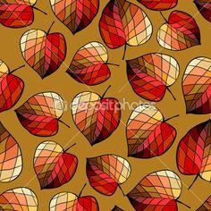 Бесшовный фон с стилизованными листьями — стоковая иллюстрация #53796497
