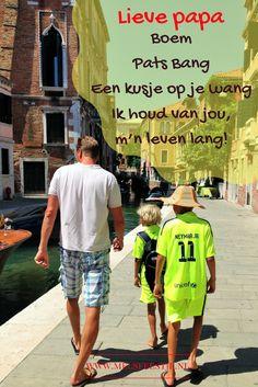 Vaderdag rijmpjes. Met Canva gemaakt op een vakantie foto uit Venetie. Verliefd!