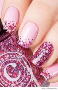 Pink nails with colorful glitter