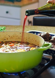 Rich and Earthy Venison Bourguignon, AKA Frenchy Deer Stew. Sooooooo, today we're talking about deer meat. Easy Venison Recipes, Deer Recipes, Wild Game Recipes, Real Food Recipes, Great Recipes, Cooking Recipes, Favorite Recipes, Healthy Recipes, Cooking Games