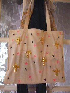 DIY Studded Cross Tote Bag Tutorial http://thegluegungirl.blogspot.com/2012/02/diy-studded-cross-tote-bag.html