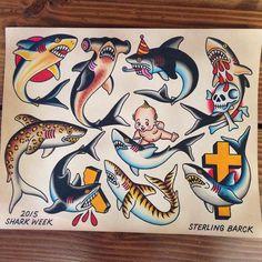 Traditional Nautical Tattoo, Traditional Sailor Tattoos, Traditional Shark Tattoo, Traditional Tattoo Flash, Desenho New School, Dessin Old School, Hammerhead Shark Tattoo, Shark Tattoos, Vintage Tattoo Design