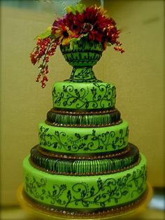 spearmint fondant wedding cake