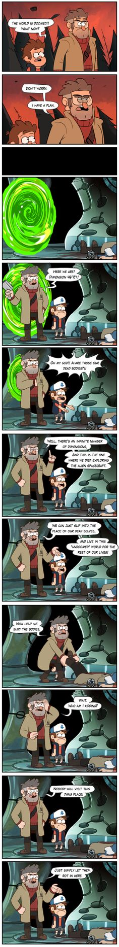A Rick and Morty/Gravity Falls crossover would perhaps not be the best idea.