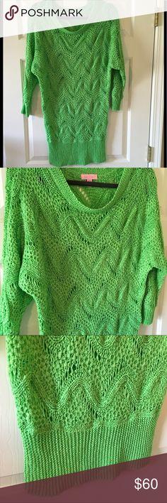 Lilly Pulitzer Larissa Crochet Lime Green Sweater Lilly Pulitzer Larissa Crochet Lime Green Sweater Lilly Pulitzer Sweaters Crew & Scoop Necks