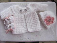 Newborn 3Piece Baby Crochet Sweater jacket Hat by StonehouseGals, $40.00