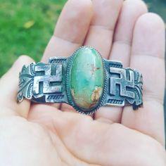 Vintage Navajo Coin Silver Whirling Logs Turquoise cuff. #navajo #whirlinglogs #silver #turquoise #cuff #bracelet #nativeamerican #3