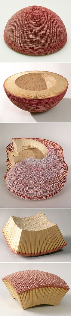 wooden match sculptures, by ryan and trevor oakes