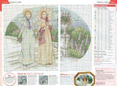 0 point de croix 2 femmes régence ds le jardin - cross stitch 2 regency ladies in the garden