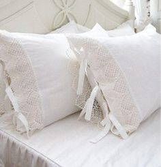 Luxurious shabby chic white lace pillowcase