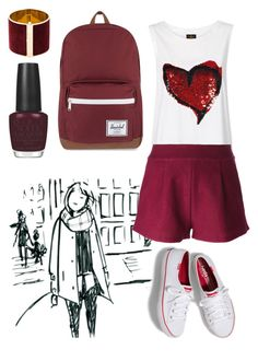 """""""Untitled #68"""" by fatimah-hameed ❤ liked on Polyvore featuring Forte Forte, Forever 21, Herschel Supply Co., Dsquared2 and OPI"""