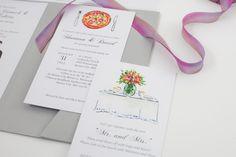 Playful watercolor illustrated wedding stationery. byKsenia byksenia.com/