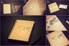 DIY Weltkarten-Notizbuch // DIY world map notebook