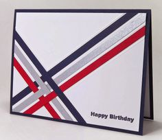 handmade birthday card from Manitoba Stamper ... woven strips of paper in team colors ... off set diagonal ... great masculine look with clean and simple lines ... luv it!