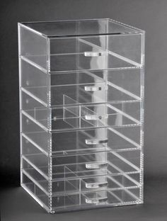 Lovely Clear Acrylic Makeup Box Case Drawers Organizer Storage Cube (A7)