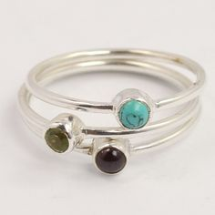 3 Pcs Stacking Ring Size US 5.5 MULTI-COLOR Round Gemstones 925 Sterling Silver #Unbranded