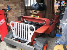 Gas (petrol) Powered Jeep From Ride on Mower : 13 Steps (with Pictures) - Instructables Golf Cart Motor, Gas Golf Carts, Custom Golf Carts, Jeep 4x4, Old Jeep, Jeep Willys, Motor Jet, Go Kart Chassis, Bicycle Sidecar