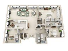 2 Bed / 3 Bath Apartment in Detroit MI | Riverfront Towers Apartments