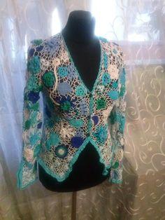 """Veste Lacy de la dentelle irlandaise """"fond profonde du lac"""" : Chemises, blouses par laceukraine                                                                                                                                                                                 Plus"""