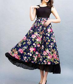 linen dress maxi dress floral print dress 0023 by xiaolizi