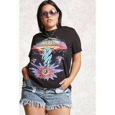 Forever21 Plus Size Boston Band Tee ($20) ❤ liked on Polyvore featuring tops, t-shirts, crew t shirts, forever 21, ribbed t shirt, graphic t shirts and crew neck tee