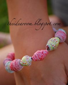 Spring Break Kids Activities Round-Up - The Idea Room Paper Bead Jewelry, Paper Beads, Jewelry Crafts, Beaded Jewelry, Beaded Bracelets, Necklaces, Paper Bracelet, Jewellery, Crafts To Do