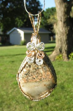 Granite and Quartz Tumbled stone  wire wrapped in Bronze & Silver filled wire by johnchapman3 on Etsy