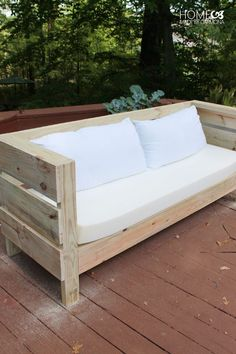 Pallet Outdoor Furniture Outdoor DIY Sofa Build Plans - Learn how to build this styling outdoor furniture, including a full sized outdoor sofa, and a bench/coffee table. It is an easy build with free plans! Outdoor Furniture Plans, Diy Garden Furniture, Furniture Making, Furniture Design, Furniture Ideas, Porch Furniture, Patio Plans, Furniture Online, Table Plans