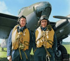 """Wing Commander Reginald W. Reynolds (right), with his navigator, Flight Lieutenant Edward Sismore - the pair that made German air force Commander-in-Chief Hermann Goering """"go berserk"""" : ColorizedHistory Ww2 Aircraft, Military Aircraft, Fighter Aircraft, Commonwealth, Pilot Uniform, De Havilland Mosquito, Flying Ace, Battle Of Britain"""