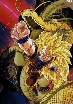 "Textless poster art for the Dragon Ball Z movie ""Dragon Fist Explosion! If Goku Can't Do It Who Will?"" Art by Tadayoshi Yamamuro. Goku Ssj3, Dragon Ball Z, Dragons, Digital Foto, Manga Dragon, Super Anime, Son Goku, Anime Comics, Illustration"
