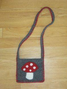 childrens felted wool purse with mushroom. $13.00, via Etsy.