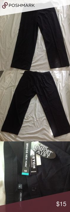 Black Briggs New York Pants Size  16 Never Worn Black Briggs New York Women's pants.  These are a size 16 and never worn.  Front button closure.  Measures approximately 18 inches across the waist on the front and approximately 30 inch inseam.  These come from a non smoking home and are in excellent condition. Briggs New York Pants Straight Leg
