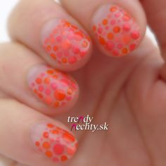 Dot Manicure, Negative space, Half moon manicure, Nail Art, Orange dot, Miss sporty