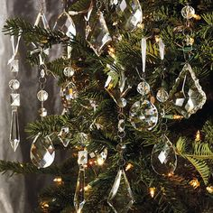Set of 24 Crystal Droplets with Silver Hangers traditional-holiday-decorations