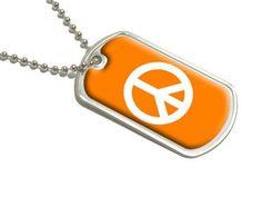 Peace Sign - White on Orange - Military Dog Tag Luggage Keychain