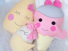 Jogo de almofadas sorvete, gota e passarinho