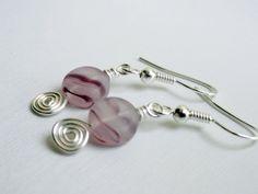 Purple spiral earrings silver handmade swirl by handmadeintoronto, $10.00