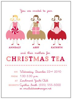 Christmas Tea. I love this idea, my daughter loves tea parties. We will have to do one this year :) #christmas #teaparties