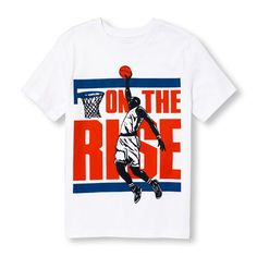 s Boys Short Sleeve 'On The Rise' Basketball Dunk Player Graphic Tee - White T-Shirt - The Children's Place