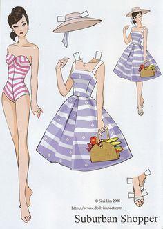 "Repro: Barbie Paper Dolls: ""Suburban Shopper"" by Siyi Lin"
