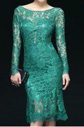 $15.85 Openwork Design Long Sleeve Backless Solid Color Scoop Neck Lace Trumpet Dress For Women