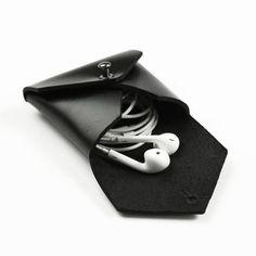 Leather Earplug bag Earbud Holder Headphone cable bag by FeltSJie, $20.00