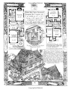 The Affordable House Victorian House Plans, Vintage House Plans, Tudor House, Victorian Homes, Building Plans, Building Design, Storybook Homes, Sims House, Cabins And Cottages