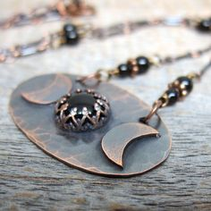 Triple Moon Necklace  ... Antiqued Copper by ElementsArtifacts, $78.00
