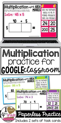 Multiplication 4th grade | Multiplication using Area Models | Google Classroom Ideas | Google Classroom Elementary | Looking for ways to integrate more technology into your classroom using Google Classroom? This set of task cards features two different sets of cards practicing using an area model for multiplication. ($)