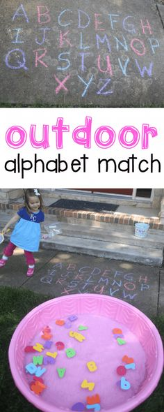 Match for Toddlers Outdoor Alphabet Match for Toddlers: Such a fun activity for teaching letter recognition to toddlers and preschoolers!Outdoor Alphabet Match for Toddlers: Such a fun activity for teaching letter recognition to toddlers and preschoolers! Outdoor Activities For Toddlers, Infant Activities, Summer Activities For Preschoolers, Indoor Activities, Preschool Movement Activities, Matching Games For Toddlers, Educational Games For Toddlers, Summer Crafts For Toddlers, Cognitive Activities